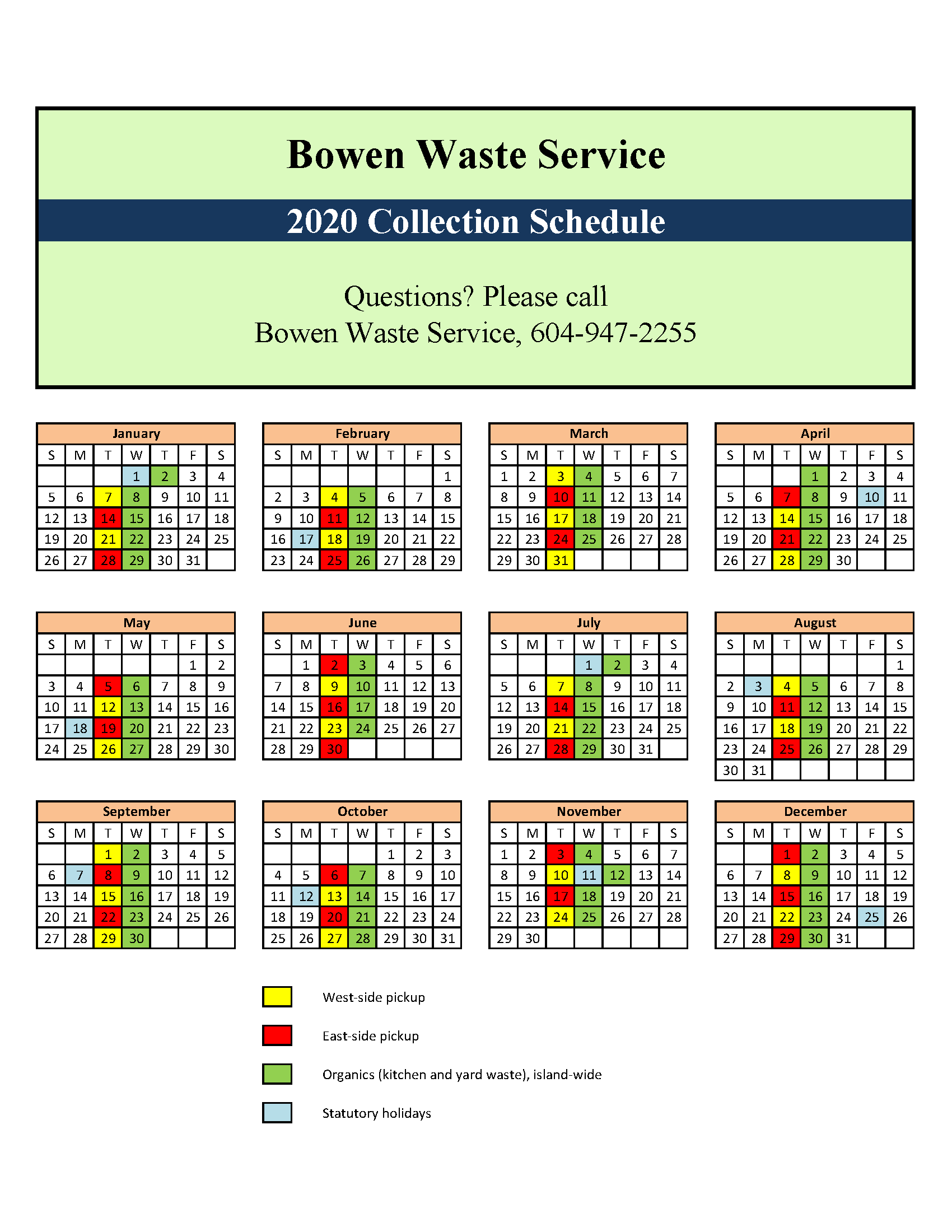 2018 Garbage Collection Schedule. Download a PDF below.