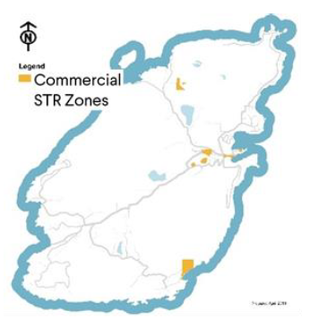 A map showing commercial STR zones on Bowen Island.