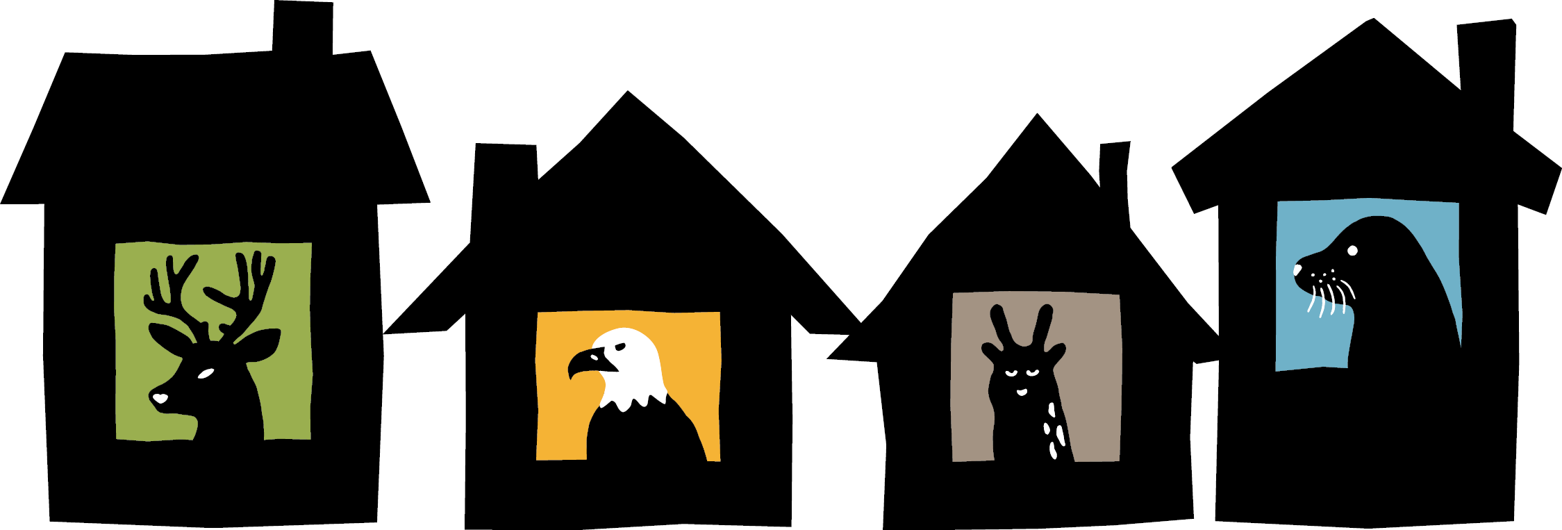 An image of the Bowen Island mascots in houses.